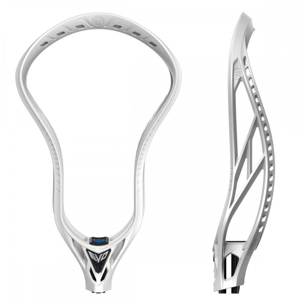 Details For the 2018 season, Warrior Sports continues their Evo line with the Warrior Evo 5 X Unstrung Lacrosse Head. Warrior has built this head around all of their greatest features, including SYM-RAIL technology that reduces weight and adds stability by shaving the inner sidewalls to match the outer sidewalls. It is the perfect head for the offensive midfielder or the goal scoring attackman. Differing from the Evolution 4X, the Evo 5 X has Loc-Throat and Tilt-Tech technologies that are now a part of the new Warrior heads. What makes the Warrior EVO 5 so special is its new LOC-THROAT technology that eliminates shaft rattle and adds stability. As the head is screwed onto the shaft the LOC –THROAT flares out to provide both internal and external pressure for a secured fit. This head is not compatible with certain shafts that are solid by the screw holes. Check before buying. The Warrior Evo 5 is designed to perform with a mid-low pocket for added control and stability. Utilizing the patent pending Tilt-Tech string hole design, this will give stringers many options to get the right tension for improved ball release. If you are an elite level offensive midfielder or a goal scoring attackman, the Warrior Evo 5 X Unstrung Lacrosse Head is for you.